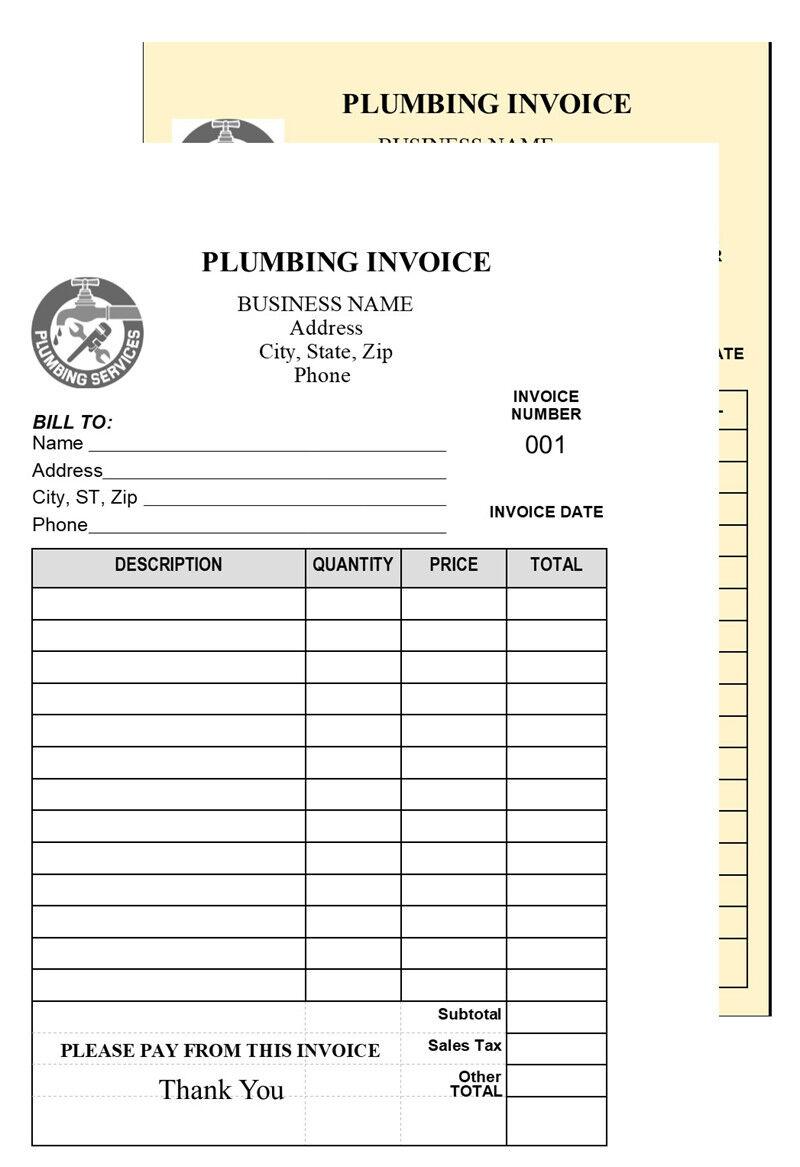 Orden De Trabajo 200 Fontaneria Factura 2 Parte Papel Autocopiante Short Form Ebay