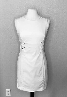 Ports 1961 | Women's Dress 6 Off White Back Zip Cotton Bland Stretch Lined Silk