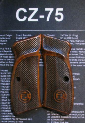 NEW CZ 75B,CZ 85,SP-01 FULL SIZE GRIPS DARK BROWN #25 WALNUT WOOD HAND MADE