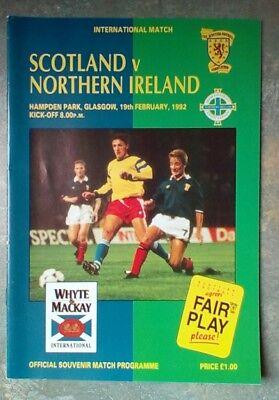 Scotland v Northern Ireland Friendly 1992 Football Matchday Programme