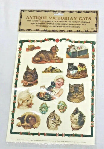 Vintage Victorian Stickers Self Adhesive Cats and Kittens Animal Labels 1980