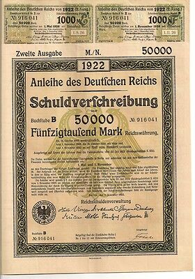 Deutsches Reich historische Anleihe Berlin 1922 / Germany auth. bond 50000 Mark
