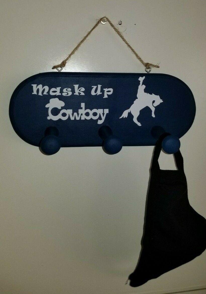 Face Mask Hanger Wooden Handmade Western Theme Mask Up Cowboy  - $25.00