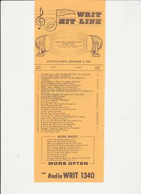 Writ Milwaukee  Wi  Original Top 40 Radio Station Music Survey December 16  1969