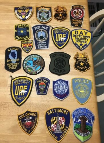 NICE LOT OF 20 LAW ENFORCEMENT PATCHES PD-09