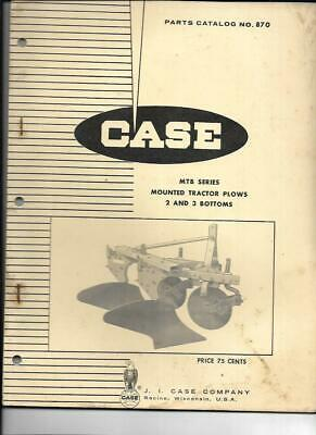 Case Mtb Series Mounted Tractor Plows 2 And 3 Bottoms Parts Catalog No. 870