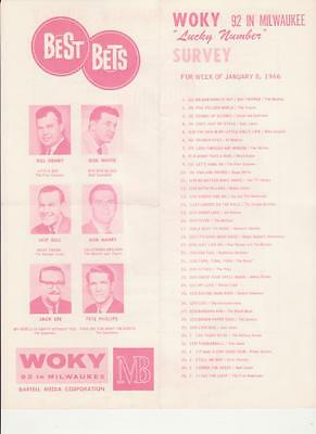 Woky Milwaukee  Wi Original Top 40 Radio Station Music Survey January 8  1966