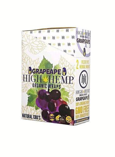 High Hemp Organic Wrap 25 Pouch in Full Box 2 in a Pouch 50 Wraps (GRAPE APE)