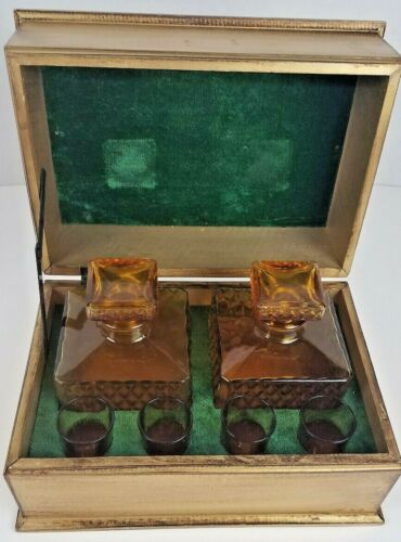 Vintage Decanter Set in Box  Continental Wood Styles Japan