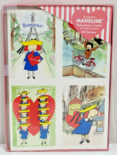 16 Madeline Valentine Cards & Envelopes + 50 Stickers by Peaceable Kingdom Press