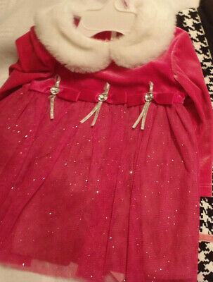 BONNIE BABY Girls 6-9 Month Glittery Sparkly Pink Dress Diaper Cover Set NWT