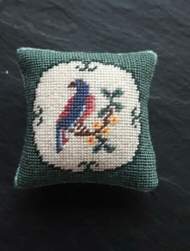 A  lovely handstitched petit point  bird Cushion on silk gauze