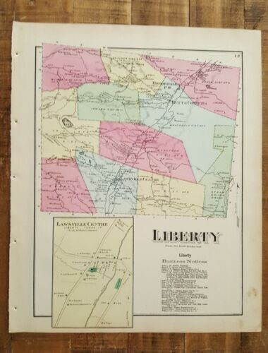 ANTIQUE Colored Map of LIBERTY - PENNSYLVANIA / A. Pomeroy & Co. 1872