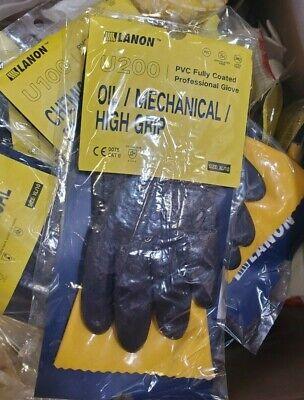 Lanon U200 Heavy Duty Pvc Safety Gloves Reusable Ultra Grip Oil Resistant Wor...