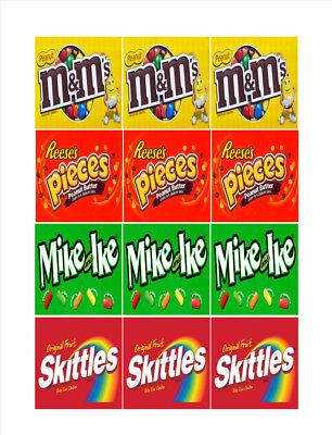 12 Inside Mount Vendstar Vending Candy Gumball Labels Sticker 2.5 X 2.5