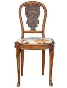 Chaise en h tre 1900 de style art nouveau aux chardons ebay for Art nouveau chaise