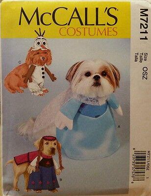 New McCall's Sewing Pattern M7211 Dog Costumes Olaf Princess Anna Elsa S-XL