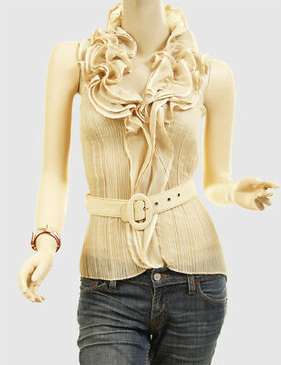 Victorian Chiffon Layer Ruffle Tulle Faux Silk Halter Belted Blouse Shirt Top Kh
