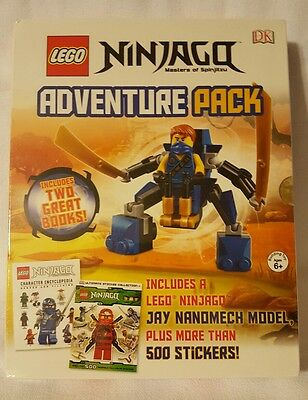 Lego Ninjago: Adventure Pack Books w/ Jay Nanomech Figure + 500 Stickers - NIB