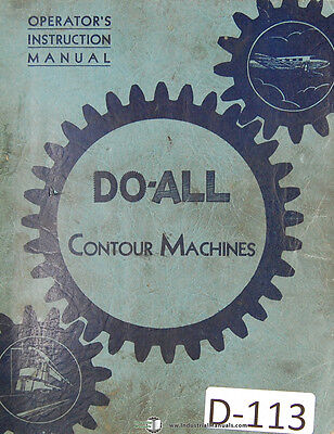 Doall V-16 And V-36 Ml Contour Saw Operations Manual 1941