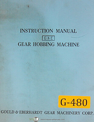Gould Eberhardt 12 - 72 H Hs Gear Hobbing Operation Instruct Manual 1960 Up