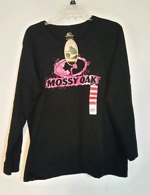 NWT Mossy Oak Woman's Long Sleeve Black and Pink Tee Shirt Size XL