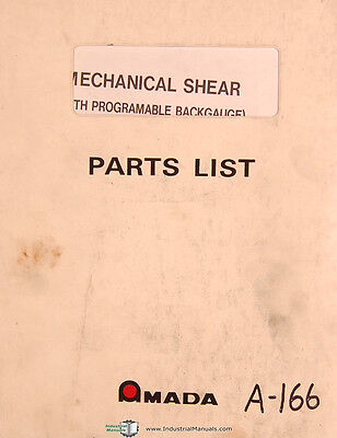 Amada M Series Mechanical Shear Parts List Manual Year 1984