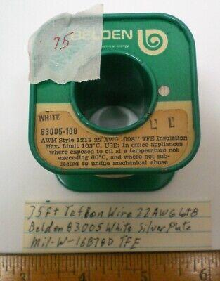 75 Ft. Teflon Wire 22 Awg Belden 83005 Silver Plate Mil-w-16878d Lot 8 Usa