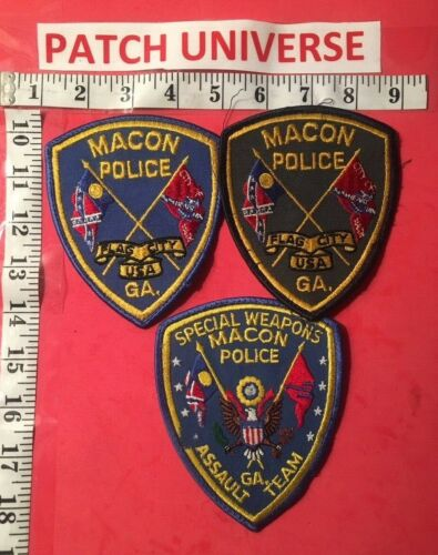 LOT OF 3 DIFFERENT MACON GA  POLICE SHOULDER PATCHES  C006