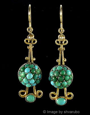 ANTIQUE VICTORIAN 9K TURQUOISE PAVE SEED PEARL DANGLE EARRINGS