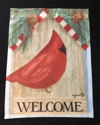 """Toland Small Garden Flag 11""""x14"""" Winter Welcome Birdhouse w/ Cardinal & Pinecone"""