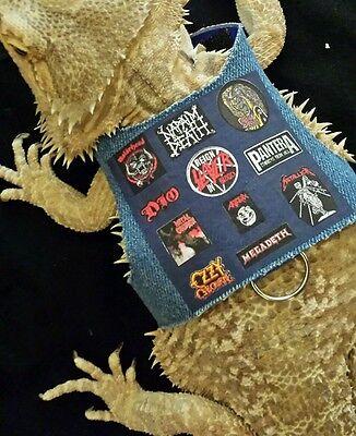 Lil' Bestie Bearded Dragon reptile Harness and Leash HEAVY METAL BATTLE JACKET