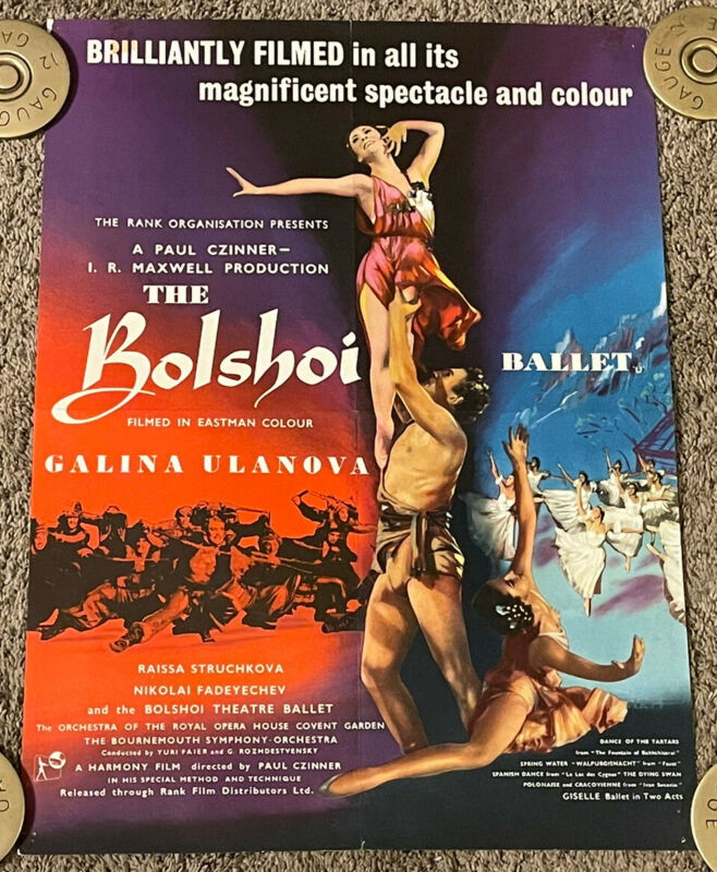 Vtg 1957 BOLSHOI BALLET English Half Crown Movie Poster, 17x22, Galina Ulanova