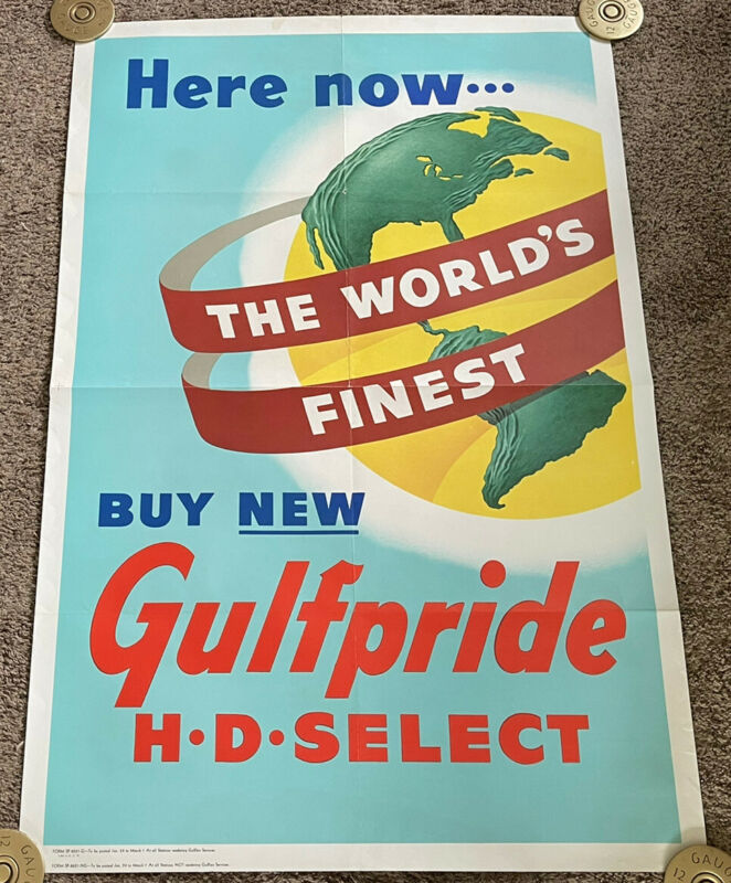 Rare Vintage 1950's GULF OIL Gulfpride Poster, Folded, 28x42