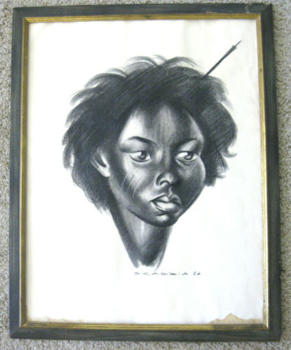 Original Signed Aldo Scabbia Portrait Black Youth ~ Vintage Mid Century Charcoal