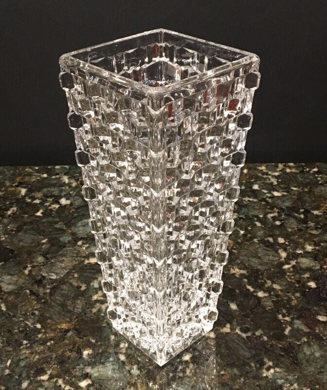"""Brilliant American Fostoria Large 9 1/2"""" Square Vase~Rare"""