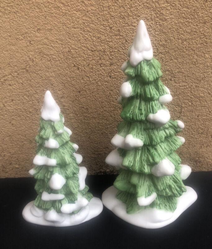 2 Dept 56 Evergreen Ceramic Snow Tipped Trees