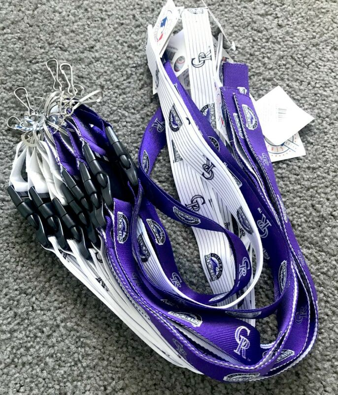 MLB Official Lanyard / Colorado Rockies / 10 Pieces / Purple & White / Keychains