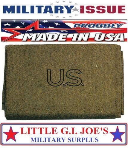 """Olive Drab GI Style US Virgin Military Wool Blanket 62"""" x 80"""" U.S. MADE 9084"""