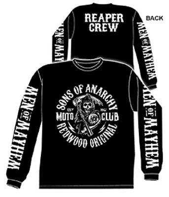 Official Sons Of Anarchy Moto Club Reaper Crew Logo Adult Long Sleeve T Shirt