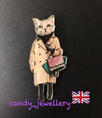 Fashion Blogger Stylish Cat Trench Coat Handbag  Quirky Funky Kitsch Chic Brooch