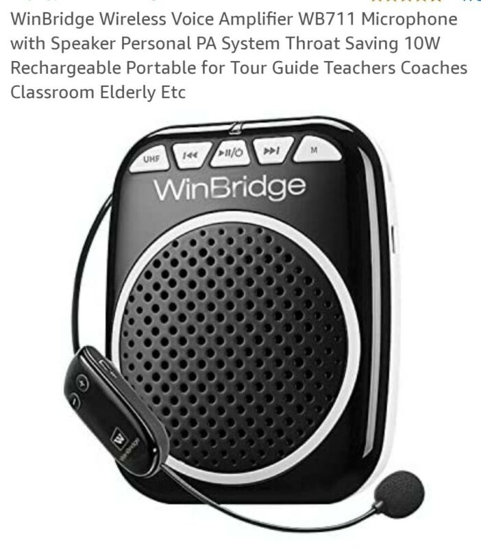 WinBridge Wireless Voice Amplifier WB711 Microphone with Speaker Personal PA Sys
