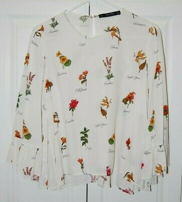 ZARA BASIC COLLECTION Ivory Bell Ruffle Sleeve Floral Blouse - Women's S