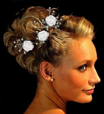 3 x Rosen Haarschmuck Kopfschmuck weiß ivory zum Brautkleid Kommunionkleid neu