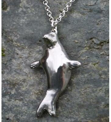 Highly Polished Pewter 3D Cornish Seal on Chain - Made in Cornwall - Gift Boxed
