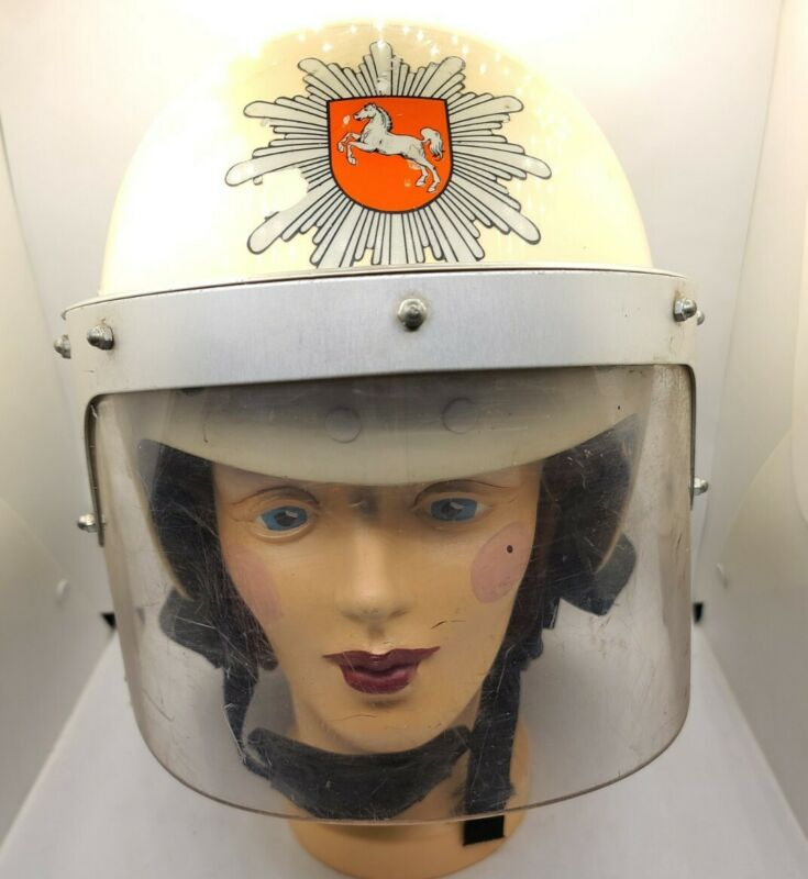 Vintage Germany Police Riot Helmet W Sheild Liner 58-60