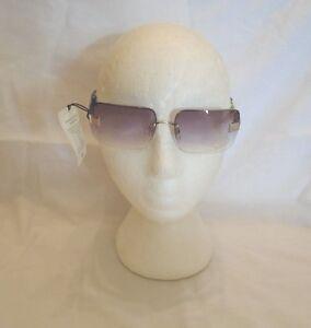 ladies top half back silver frame gradual tint sunglasses (879.18)