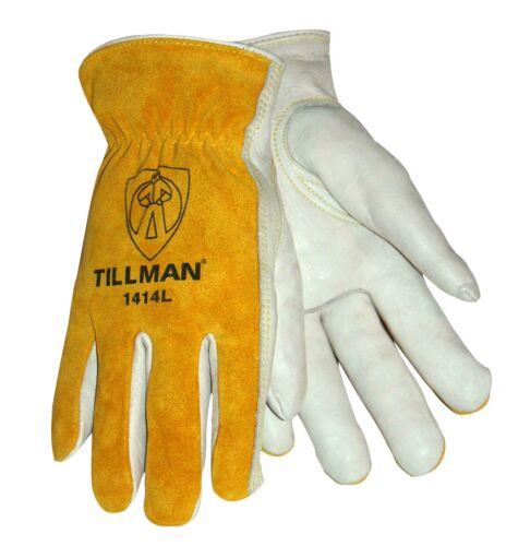 Tillman 1414 Drivers Work Gloves Top Grain Pearl CowhideSplit Leather Back XS-XL