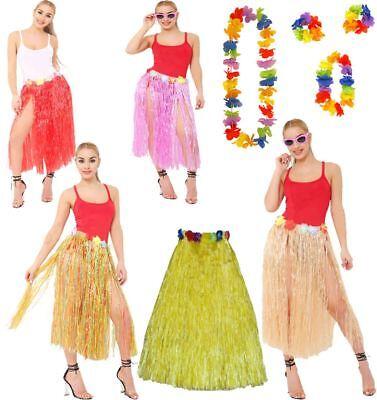Long 80cm Hawaiian Hula Skirt And 4 Pc Lei Set Ladies Luau Fancy Dress Accessory](Hula Skirts And Leis)