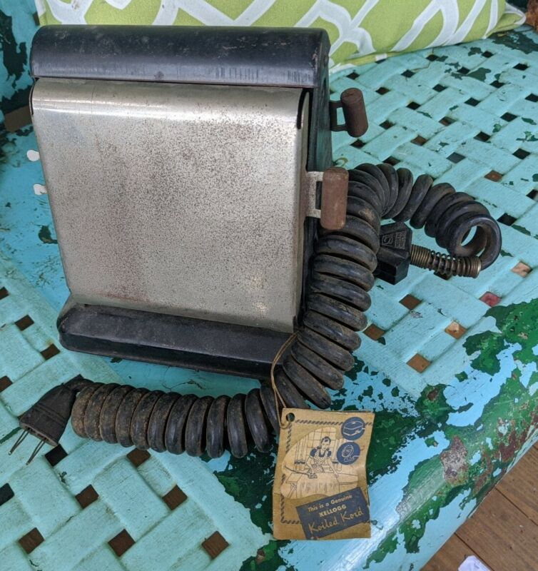 ANTIQUE RARE KELLOGG TOASTER EARLY ELECTRIC WOOD HANDLES TAG Koiled Kord